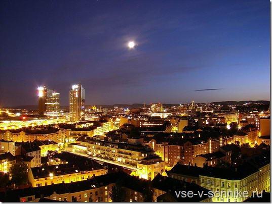 Ночной пейзаж на столицу Норвегии - Осло